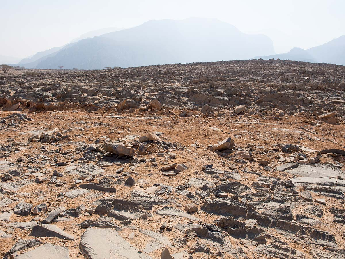 Unwirkliche Landschaft in den Bergen Omans